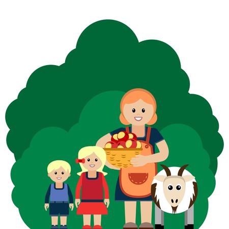 Vector illustration de la famille agricole. Regroupées pour faciliter le montage. Vecteurs
