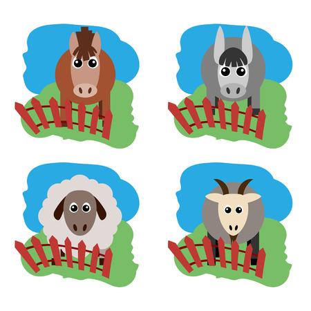 農場の動物と関連アイテムのベクトル図です。馬、羊、ヤギ、ロバ フェンスの後ろに草の上。編集しやすくまとめられています。