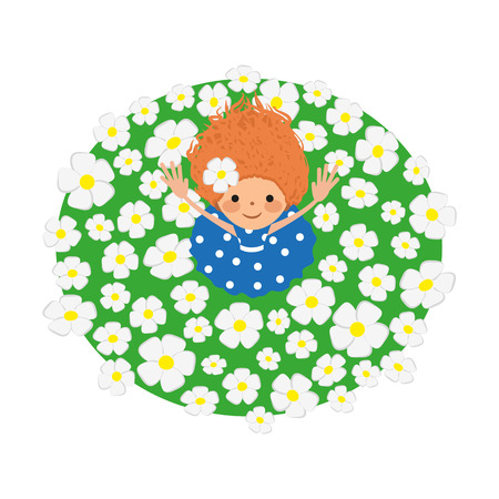 cheerfully: Girl on field. Vector illustration. Grouped for easy editing.