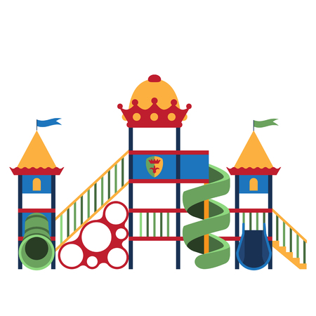 kids playground: Kids playground and related items. Play equipment on white background. Vector illustration. Grouped for easy editing.