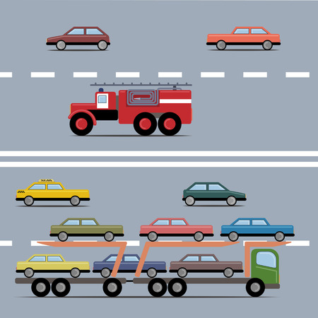 Set of colorful transport. Different kinds of automobile on a road. Vector illustration. Grouped for easy editing.