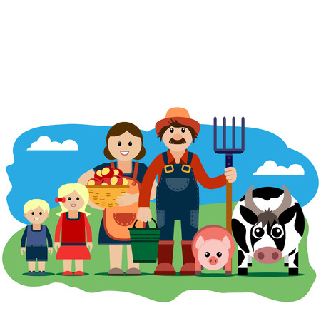 grouped: Vector illustration of farm family. Grouped for easy editing.