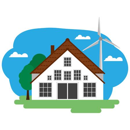 Illustration vectorielle du bâtiment de la ferme et des éléments connexes. Groupé pour faciliter l'édition.