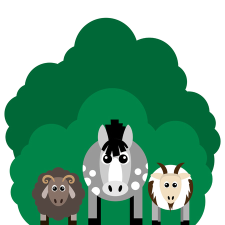 Vector illustration of farm animals and related items. Horse, sheep, goat. Grouped for easy editing.