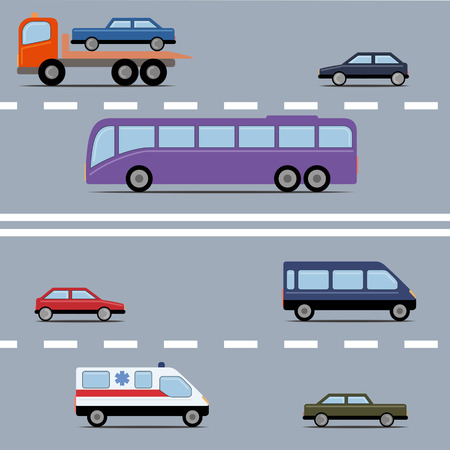passenger compartment: Set of colorful transport. Different kinds of automobile on a road. Vector illustration. Grouped for easy editing.