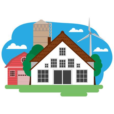 Vector illustration du bâtiment de ferme et articles connexes. Regroupées pour faciliter le montage.