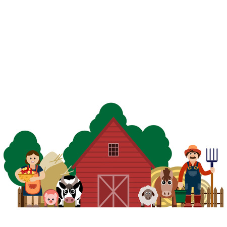 paysage: Vector illustration of family farmers and his animals. Grouped for easy editing.