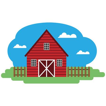 barnhouse: Vector illustration of farm building. Grouped for easy editing.