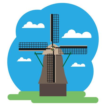 風車のベクター イラストです。編集しやすくまとめられています。