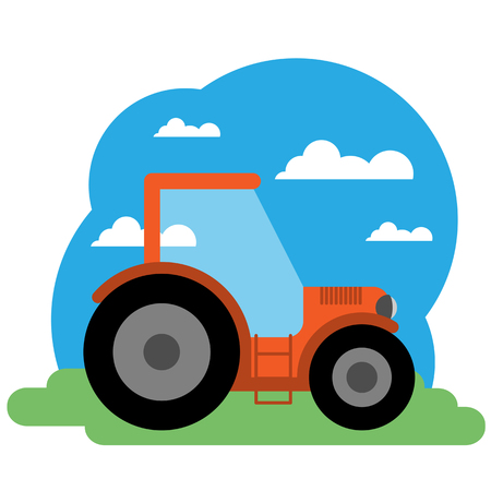 barnhouse: Vector illustration of tractor. Grouped for easy editing.