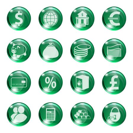 palmtop: Set of icons of green color on a subject bank. Business and Finance. Grouped for easy editing. Vector images. Illustration