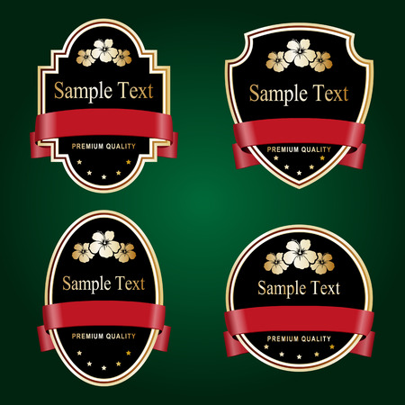 red tape: Set of black and gold ornate labels with red tape. Grouped for easy editing. Perfect for labels or stickers for wine, beer, champagne, cognac, cologne and etc. Illustration