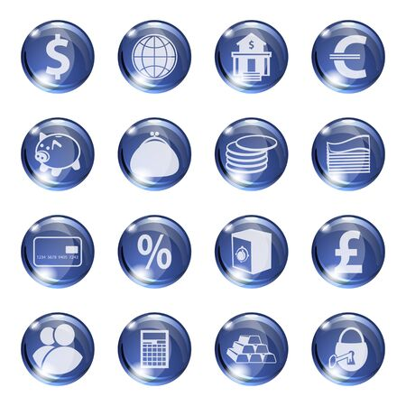 palmtop: Set of icons of blue color on a subject bank. Business and Finance. Grouped for easy editing. Vector images. Illustration
