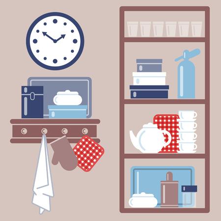 Ilustración del vector con estantes de la cocina y utensilios de cocina. Agrupado para corregir fácil. Foto de archivo - 60060544