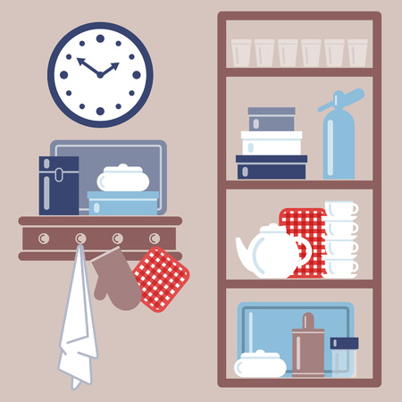 Vector illustration with kitchen shelves and cooking utensils. Grouped for easy editing.