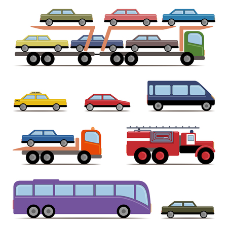 Set of colorful transport. Different kinds of automobile. Vector illustration. Grouped for easy editing. Illustration