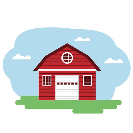 Illustration vectorielle du bâtiment de la ferme rouge. Groupé pour faciliter l'édition. Vecteurs