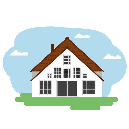 paysage: Vector illustration of white farm house. Grouped for easy editing. Illustration