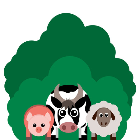 Vector illustration of farm animals. Cow, sheep, pig.. Grouped for easy editing.  イラスト・ベクター素材