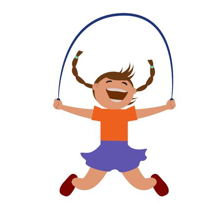 Girl jumping rope. Vector illustration. Grouped for easy editing. Illustration