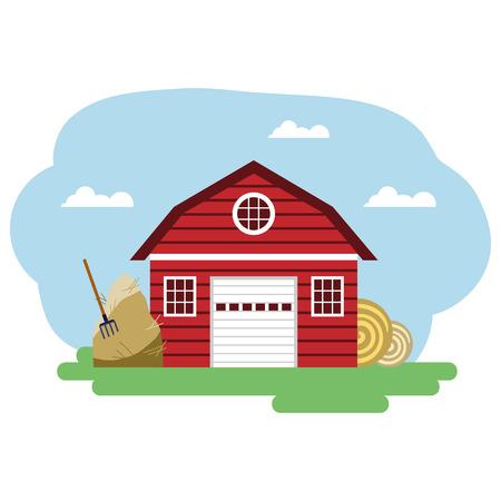 Illustration vectorielle du bâtiment de la ferme rouge et des éléments connexes. Groupé pour faciliter l'édition.