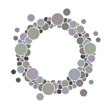 Round frame with circles for your text in grey. It is easy to edit. vector illustration.