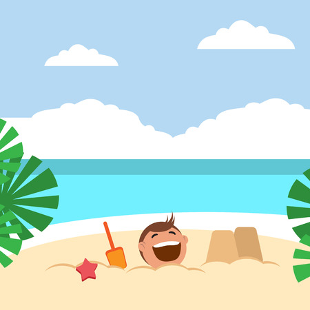 people having fun: Funny kids building sand castles and playing on the beach. Vector illustration. Grouped for easy editing.