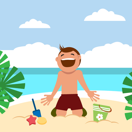teenagers having fun: Boy sunbathing and playing on the beach. Child building sand castle. Vector illustration. Grouped for easy editing.