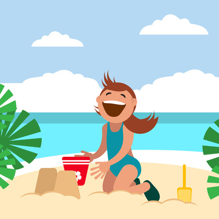 Girl sunbathing and playing on the beach. Child building sand castle. Vector illustration. Grouped for easy editing. Illustration