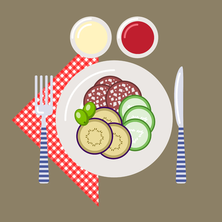 Picnic time, nature, outdoor recreation, napkin, plate, knife, fork, sauce, ketchup, sausage, cucumber, eggplant, olives, breakfast. Vector illustration. Grouped for easy editing.