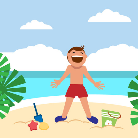 Happy boy sunbathing and playing on the beach. Child building sand castle. Vector illustration. Grouped for easy editing. Illustration