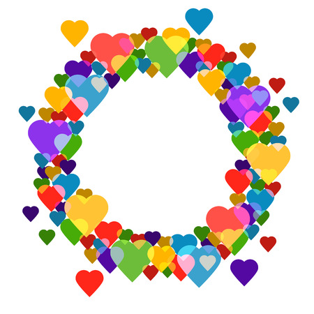 Circle frame with hearts on white background for your text. It is easy to edit. vector illustration.
