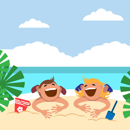 Boy and girl sunbathing and playing on the beach. Vector illustration. Grouped for easy editing.