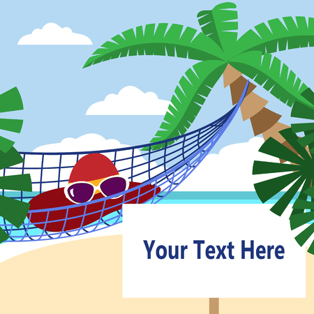 kinder garden: Summer activities. Hammock on the beach. Place for your text. It is easy to edit. Vector illustration.