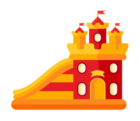 Colorful bouncy castle in amusement park flat. Air trampoline castle cartoon style. Playground on funfair. Festivals outdoor summer kid fun time. illustration Isolated vector Illustration