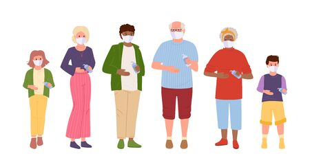 Multiethnic family protected virus. Use an antiseptic, wear medical masks. Save health Save health mom, dad, son and daughter. Grandpa and Grandma Protection from coronavirus. Vector illustration Vettoriali