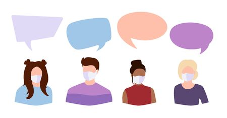 Coronavirus Covid 19, people student in white medical face mask dispute. Speech bubble icon dialogue discussion. International men woman in facemask debate. Stop pandemic. Vector illustration