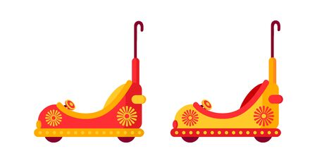 Funny multicolored bump car, childrens cars amusement park flat. Carousel cartoon toy racing. Festivals outdoor summer kid fun time. Isolated vector illustration