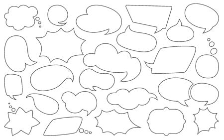 Speech bubble line silhouette set. Outline empty comic design elements dialog white clouds icon. Speech thought blobs comics book, balloon chat banner, page template. Contour vector illustration