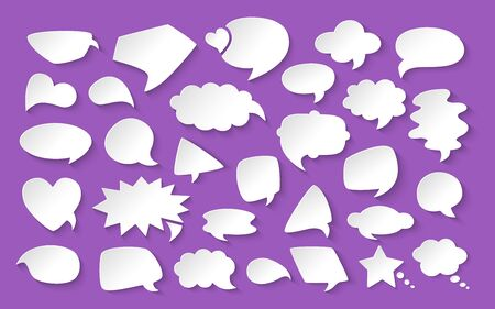 Blank empty white paper speech bubbles cartoon set. design elements with shadows dialog clouds icon. Speech thought blobs comics, balloon chat banner. Blank apps and website. Vector illustration Illustration