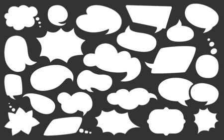 Blank empty white speech bubbles flat cartoon set. Comic design elements dialog white clouds icon. Speech thought blobs comics, balloon chat banner. Blank apps and website. Vector illustration