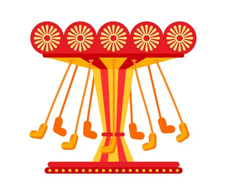 Swinging carousel seats on chains flat, amusement park. Colorful childrens carousel ride, swing cartoon. Attraction swinging ride, fairground carousel. Festivals summer kid time. illustration vector