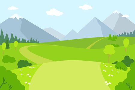 Mountain landscape flat cartoon style. Summer scenery outdoor activities. Park, green grass outdoor mountains rural scenery. Beautiful meadow vector illustration.