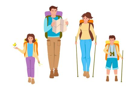 Happy family on a white background flat cartoon people. Father, mother and children traveling. Summer outdoor activities, walk in nature. Backpack and equipment for tourism. Vector illustration.