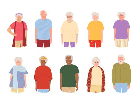 Old people, elderly group smiling, cartoon set. Grandparents different nations representatives elderly people in casual clothes. Older men, women retirement age. Isolated vector illustration