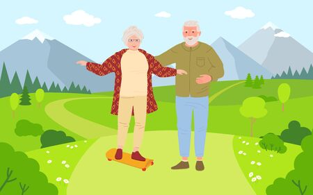 Old men and women riding skateboards cartoon. Healthy active lifestyle older people. Summer outdoor activities, skateboarding in nature. Elderly people walking. Beautiful meadow. Vector illustration.