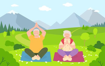 Old men and women do yoga cartoon. Healthy active lifestyle older people. Summer outdoor activities, doing exercises. Couple of seniors do sport. Beautiful mountain and meadow. Vector illustration.