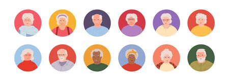 Old people set avatars cartoon style. Multi nationality elderly faces man and womans. Different nations representatives collection of portraits. Isolated vector illustration Иллюстрация
