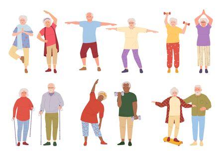 Healthy active lifestyle older people cartoon set. Sport retiree grandparent, incline to side. Elderly people doing morning exercises, gymnastics. Old men and women walking. Vector illustration