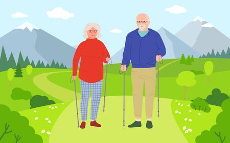 Old men and women walking cartoon. Healthy active lifestyle older people. Summer outdoor activities, walk in nature. Elderly people hiking. Beautiful mountain and meadow. Vector illustration.